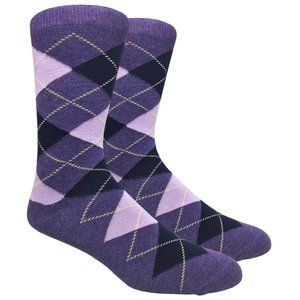 Men's Purple Argyle Printed Dress Socks
